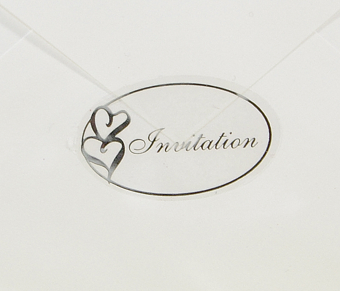 100pcs Transparent Wedding Envelope Seal Stickers 14x09 Oval Foil Printed Double Heart Invitation Clear Seals 001