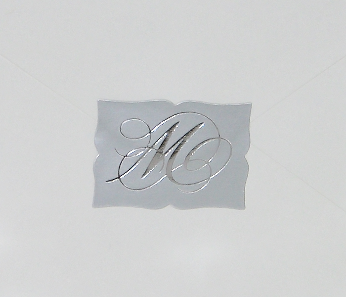 50/Pack Silver Rectangle Embossed Foil Wedding Invitation
