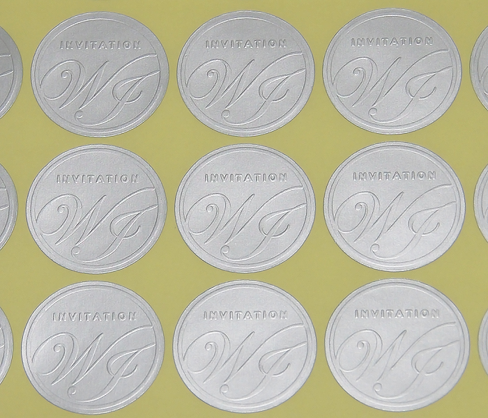 50 Pack Silver Circle Embossed Foil Wedding Invitation Envelope Seal Stickers